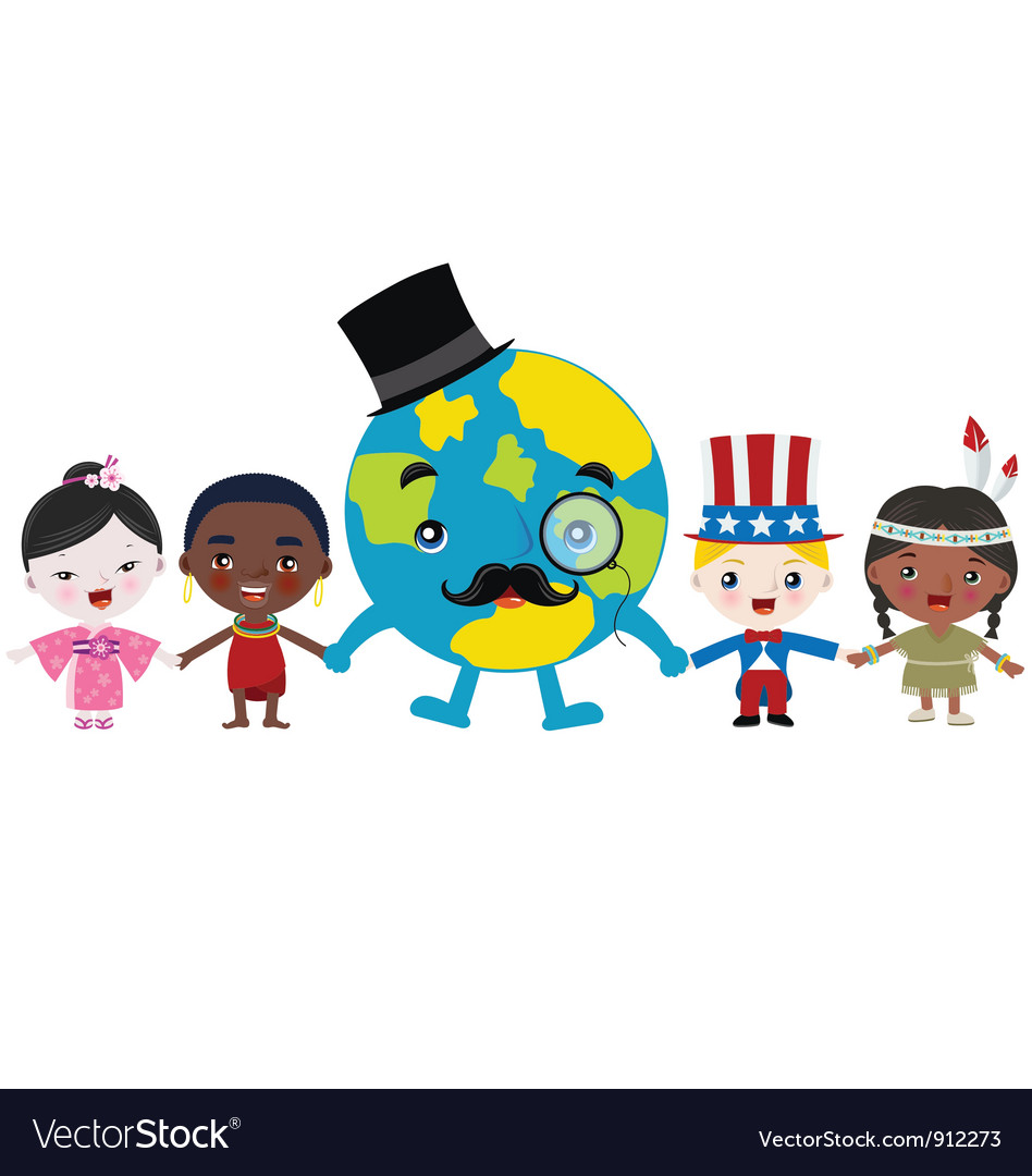 Earth and kids holding hands vector | Price: 3 Credit (USD $3)