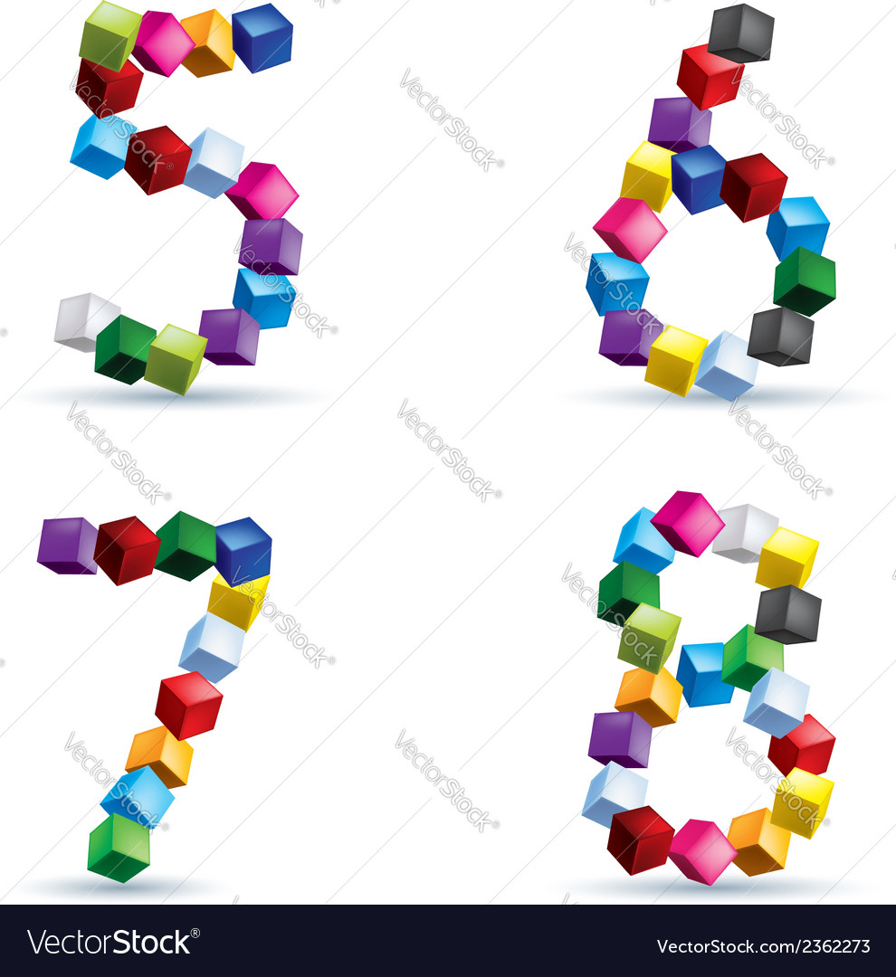 Figures made of colored blocks vector | Price: 1 Credit (USD $1)