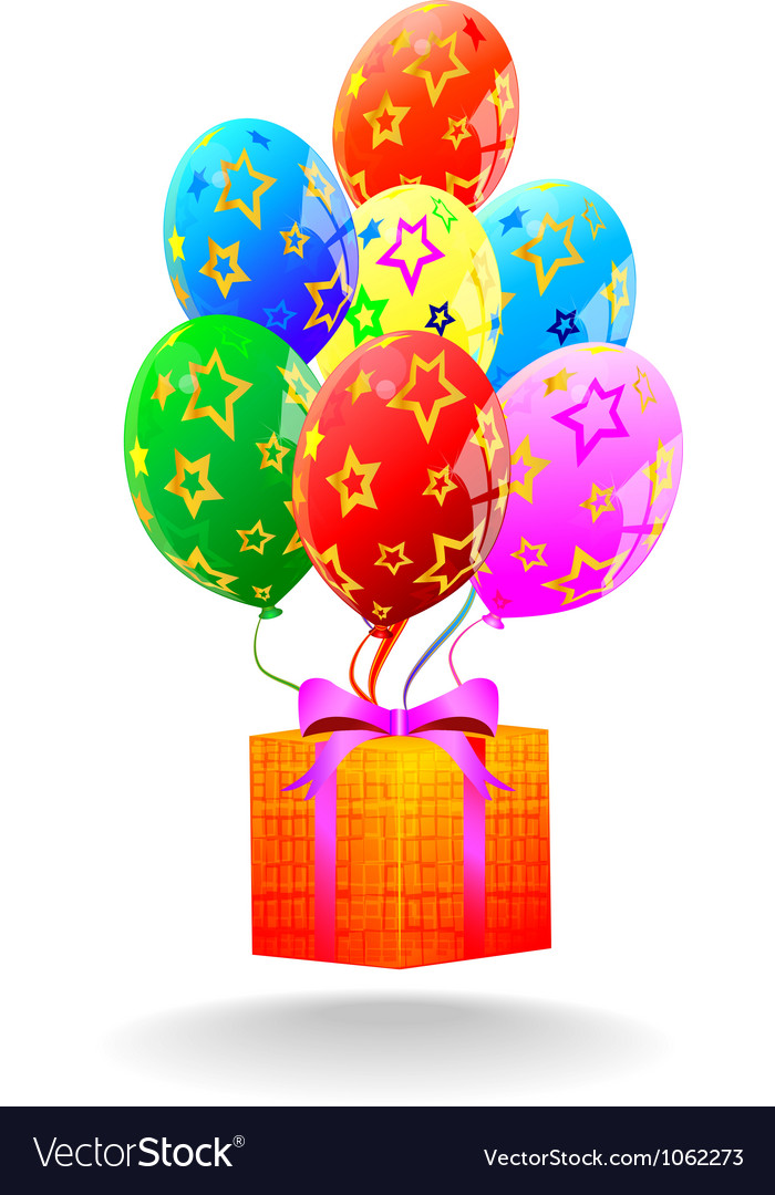Gift box and flying balloons vector | Price: 1 Credit (USD $1)