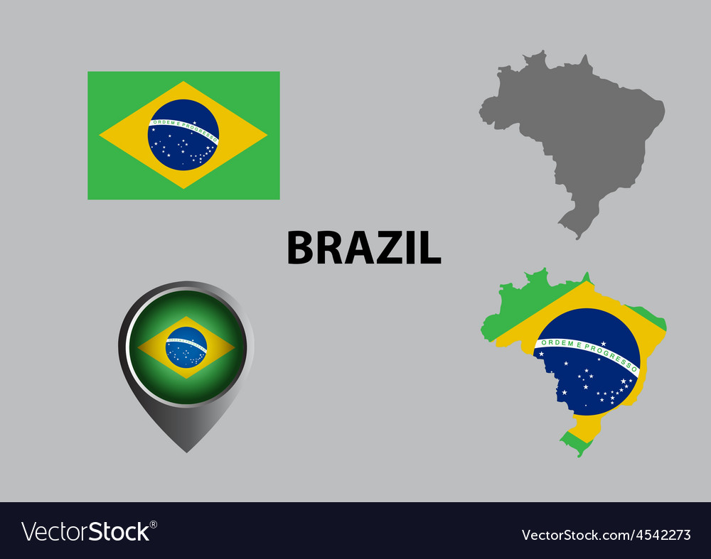 Map of brazil and symbol vector   Price: 1 Credit (USD $1)