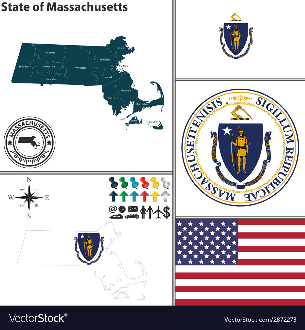 Map of massachusetts with seal vector | Price: 1 Credit (USD $1)