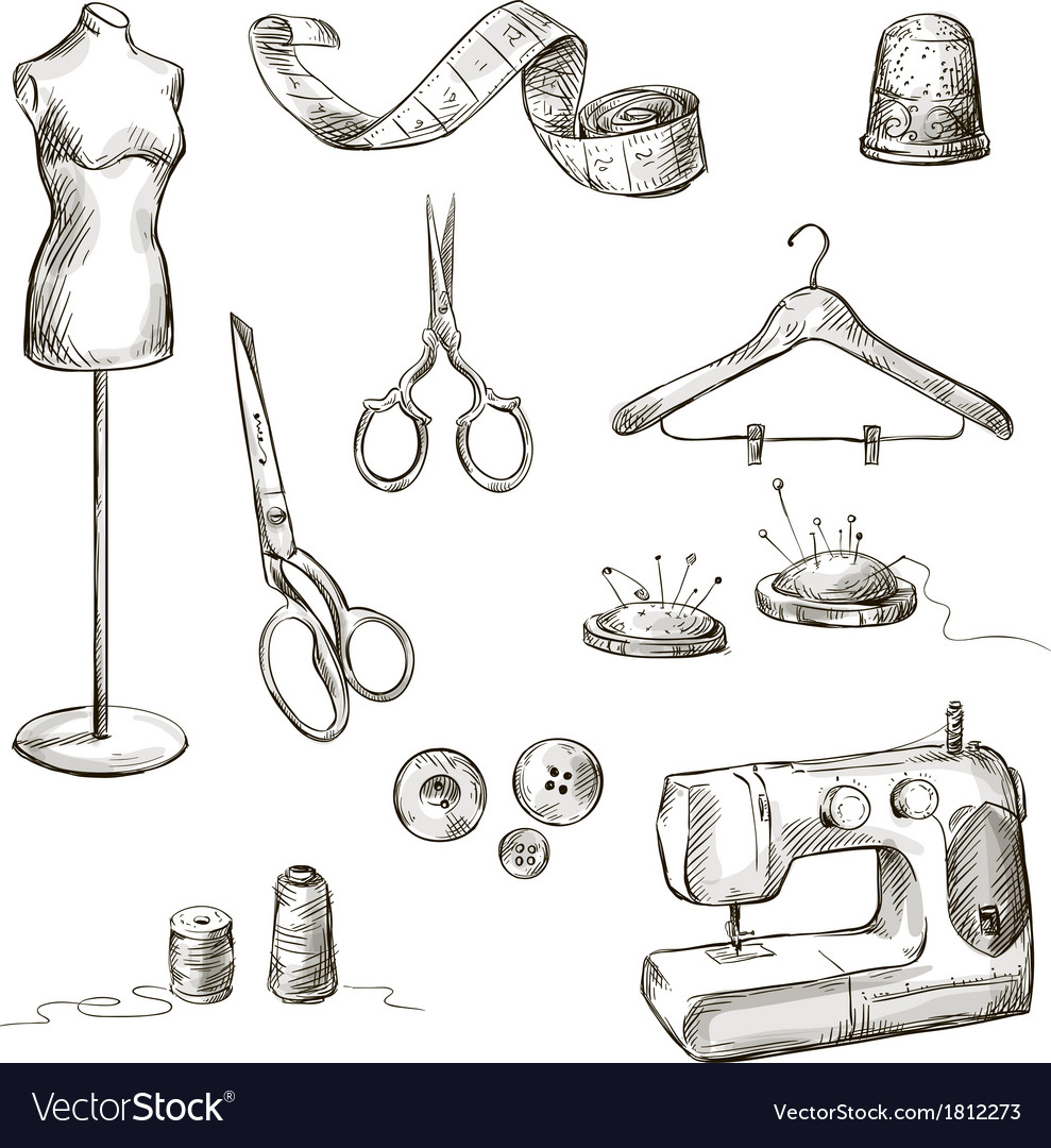 Set of sewing accessories drawings vector | Price: 1 Credit (USD $1)