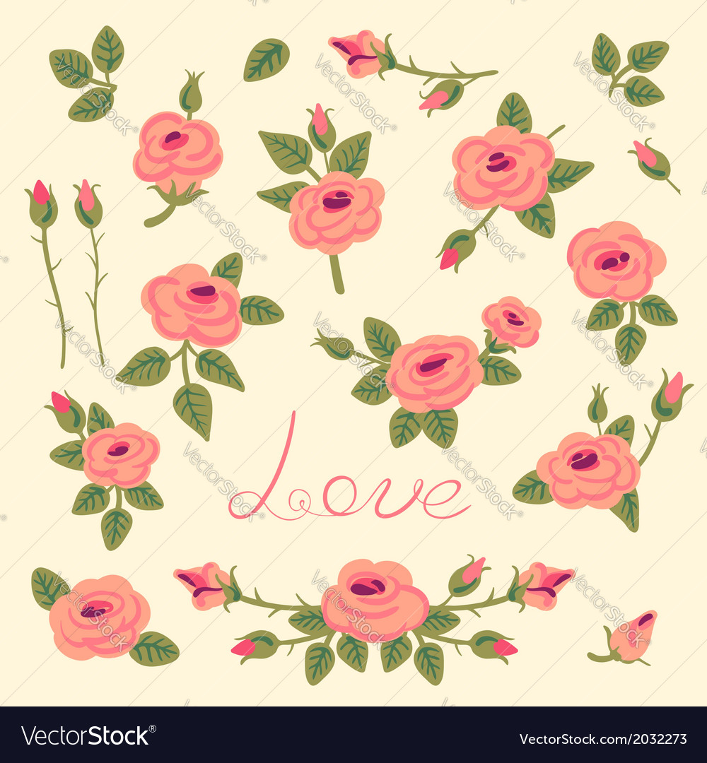 Set of vintage roses for design vector   Price: 1 Credit (USD $1)