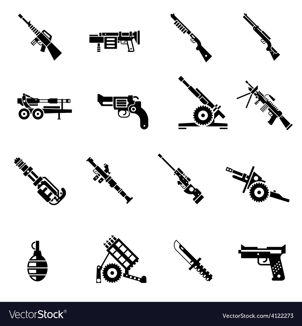 Weapon icons black vector