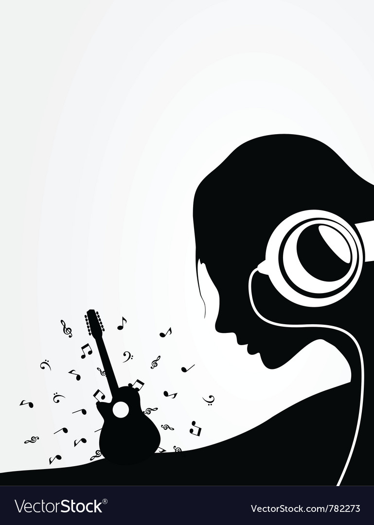 Woman listens to guitar music vector | Price: 1 Credit (USD $1)