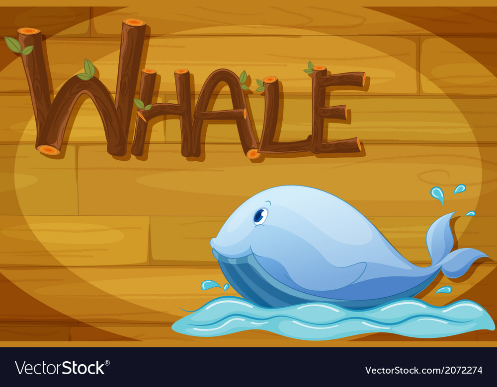 A wooden frame with a whale vector   Price: 1 Credit (USD $1)