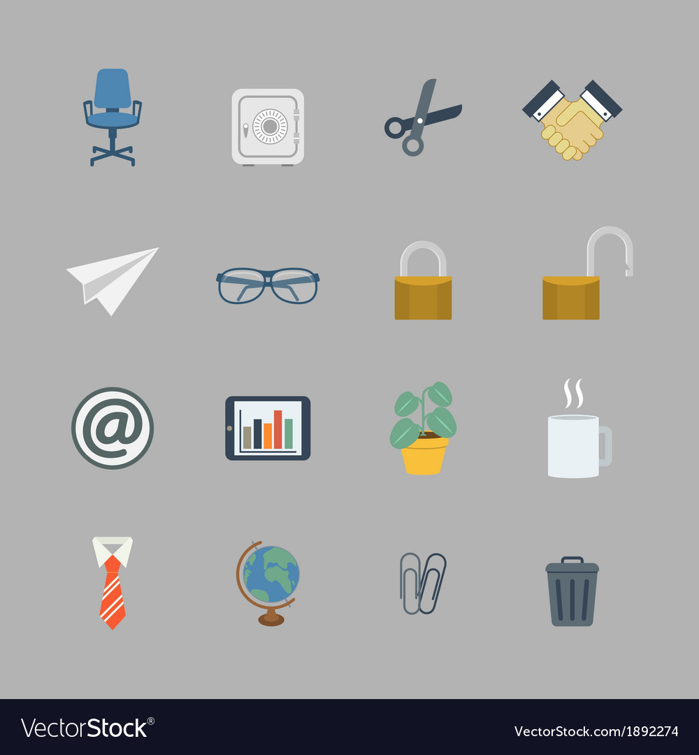 Business collection of flat office supplies vector | Price: 1 Credit (USD $1)