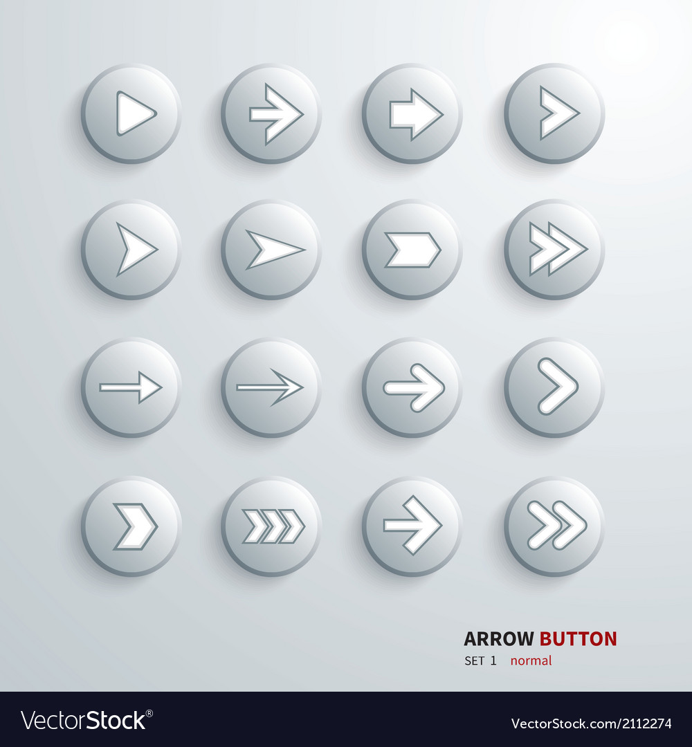 Button arrow sign icon set on click vector | Price: 1 Credit (USD $1)