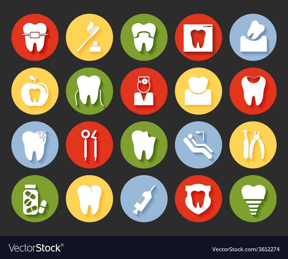 Flat style dental icons set vector | Price: 1 Credit (USD $1)