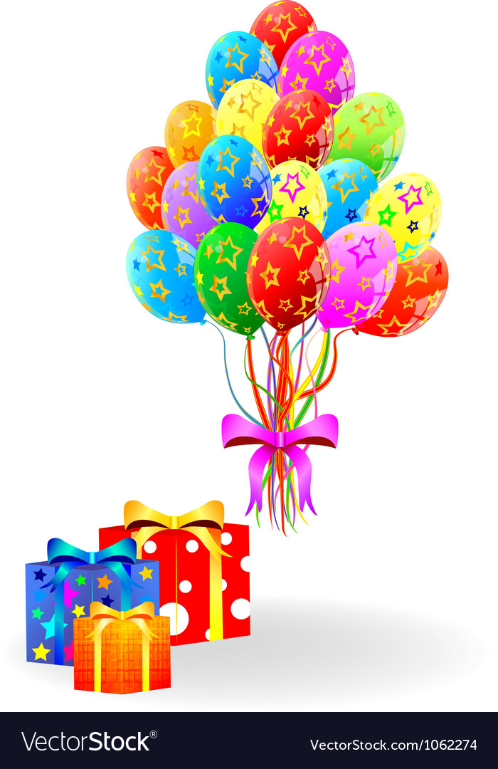 Gift box and balloons vector