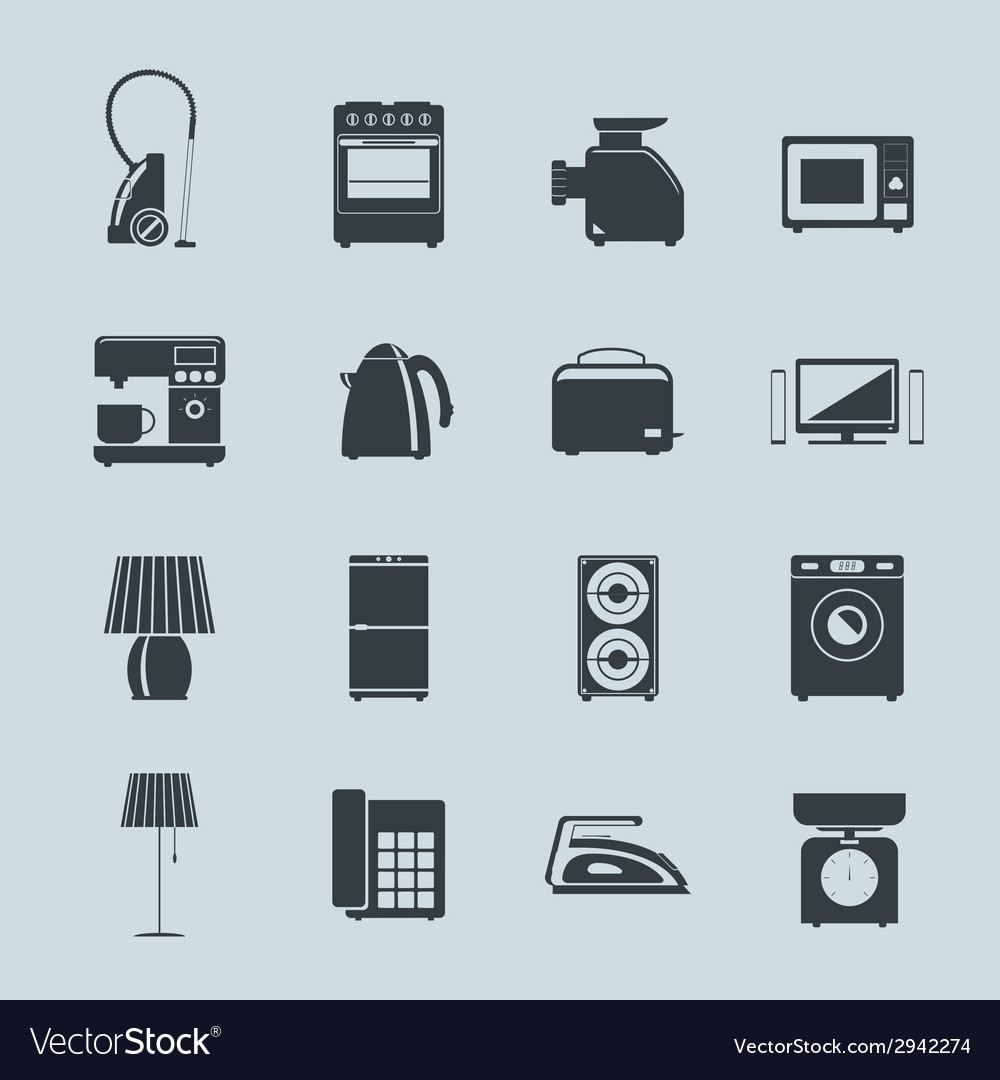 Set of household appliances silhouette icons vector | Price: 1 Credit (USD $1)