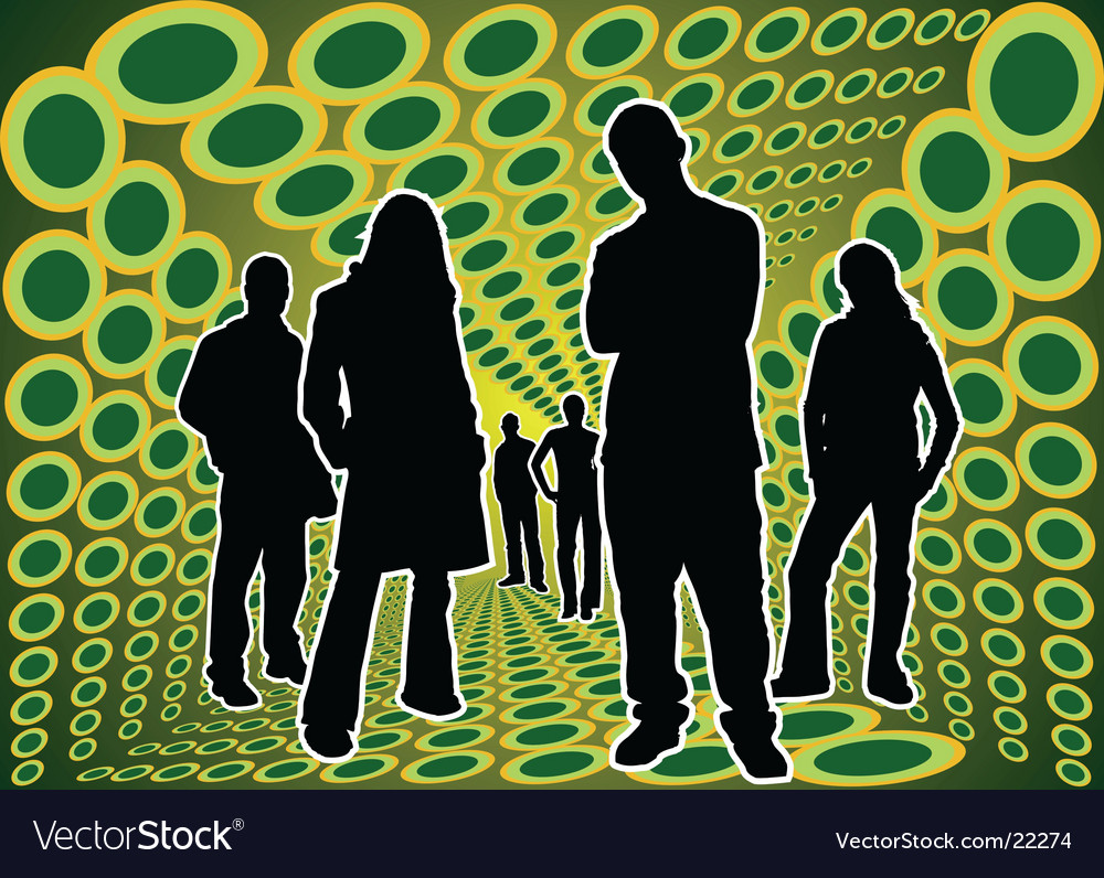 Silhouettes people in green box vector | Price: 1 Credit (USD $1)
