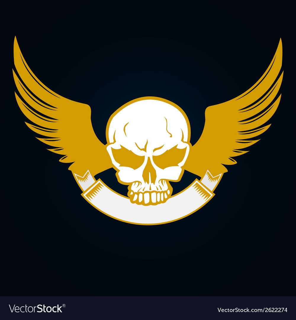 Skull with emblem and wings vector | Price: 1 Credit (USD $1)