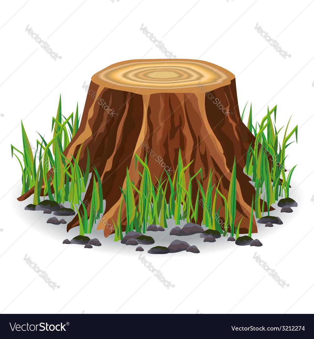 Tree stump with green grass vector | Price: 1 Credit (USD $1)