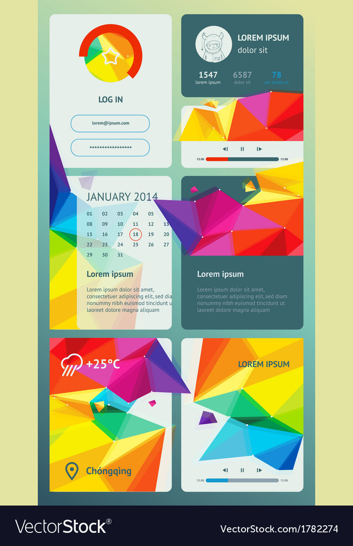Ui is a set components featuring the flat design vector | Price: 1 Credit (USD $1)