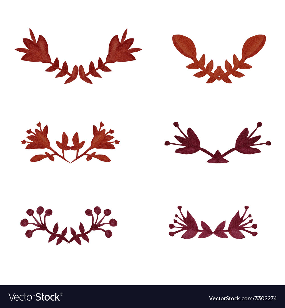 Watercolor laurels set vector | Price: 1 Credit (USD $1)