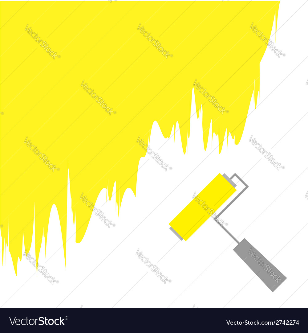 Yellow paint roller brush for text on the wall vector | Price: 1 Credit (USD $1)