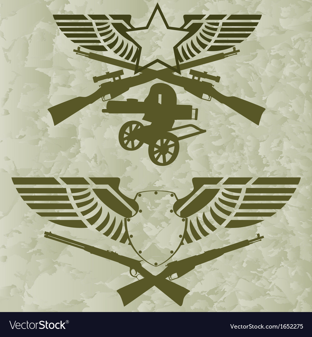 Badges with wings and firearms vector | Price: 1 Credit (USD $1)