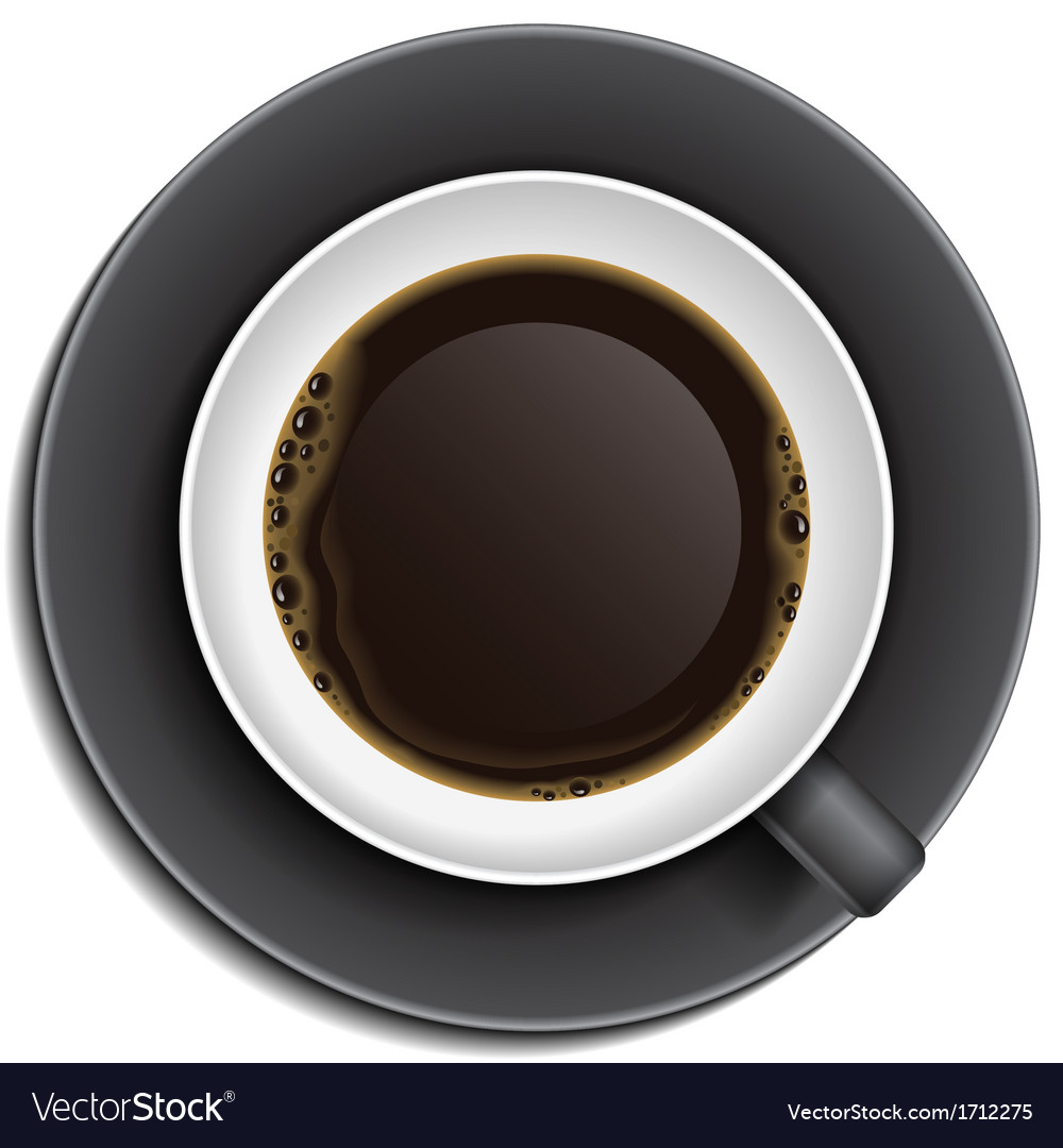 Black cup of coffee on saucer vector | Price: 1 Credit (USD $1)