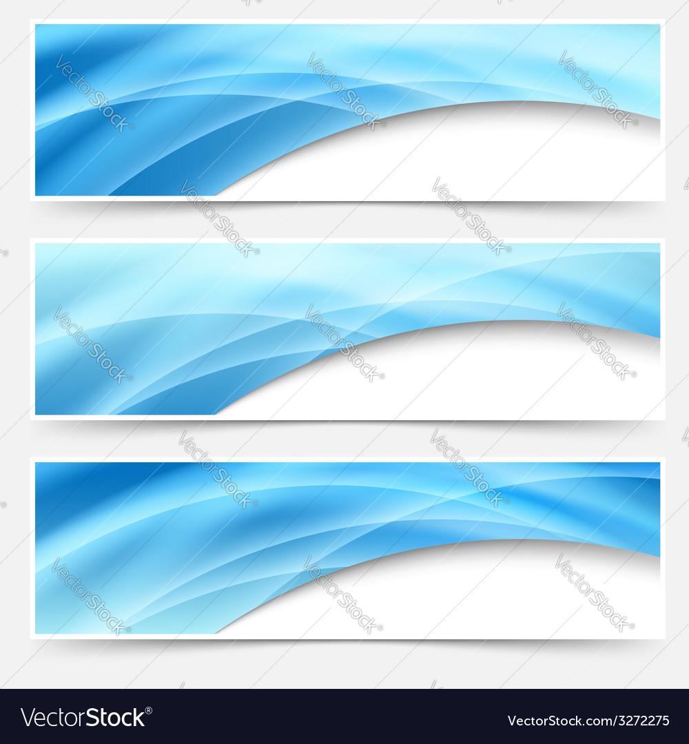 Blue glow swoosh line header footer set vector | Price: 1 Credit (USD $1)