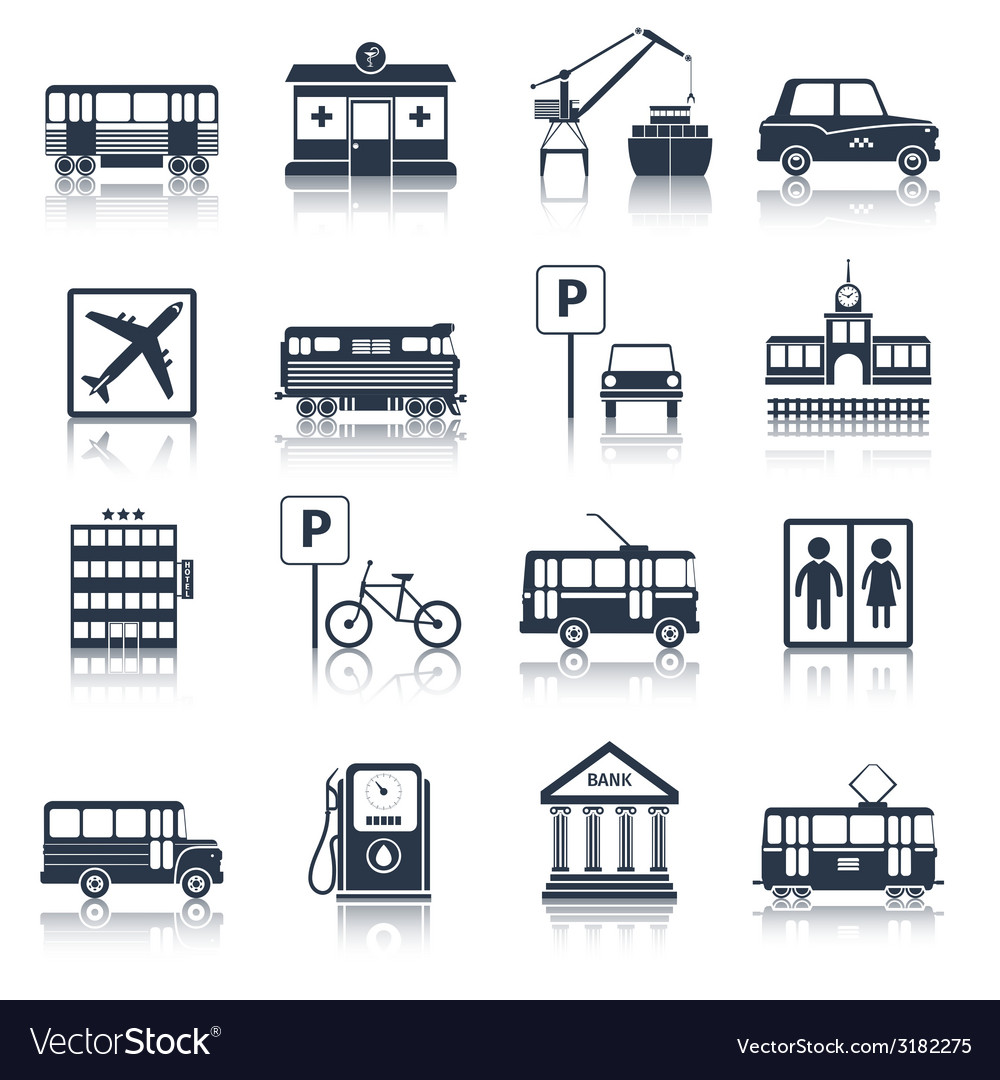 City infrastructure icons black vector | Price: 1 Credit (USD $1)
