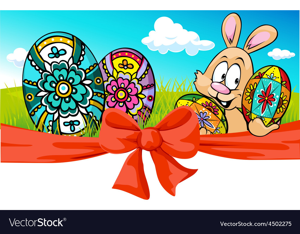 Easter banner with bow and bunny - vector | Price: 1 Credit (USD $1)