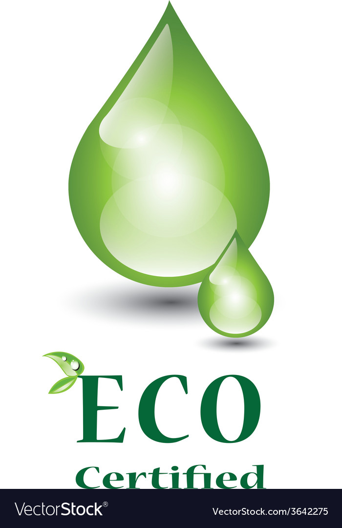 Eco certified green droplets vector | Price: 1 Credit (USD $1)