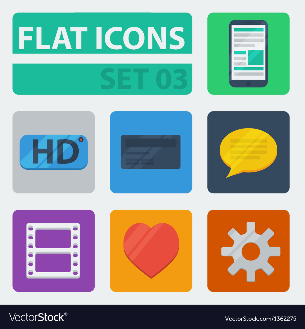 Flat icons set 03 vector | Price: 1 Credit (USD $1)