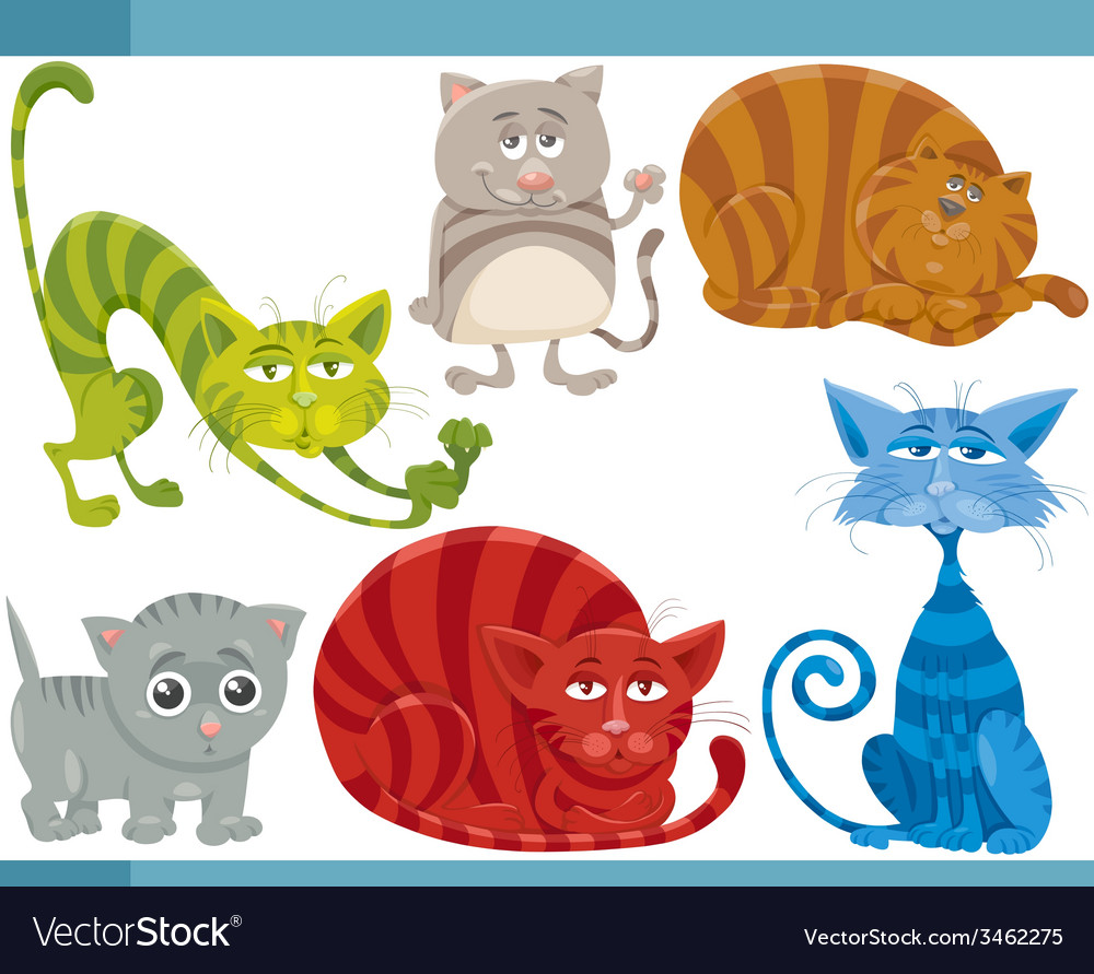 Funny cats cartoon set vector | Price: 3 Credit (USD $3)