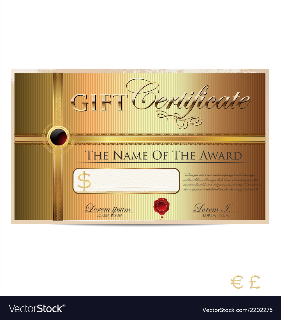 Golden gift certificate vector | Price: 1 Credit (USD $1)