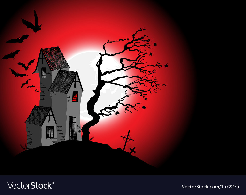 Halloween background with the scary house vector | Price: 1 Credit (USD $1)