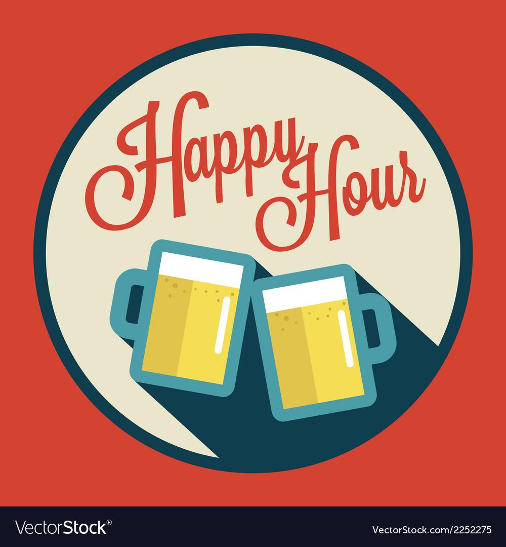 Happy hour with beer vector | Price: 1 Credit (USD $1)