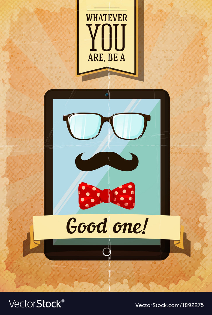 Hipster poster with vintage tablet vector | Price: 1 Credit (USD $1)