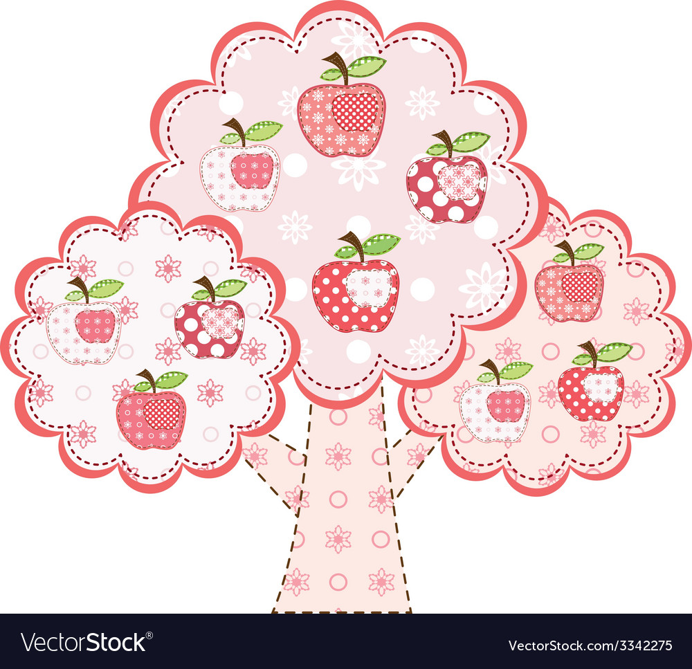 Pink stylized patchwork apple tree vector | Price: 1 Credit (USD $1)