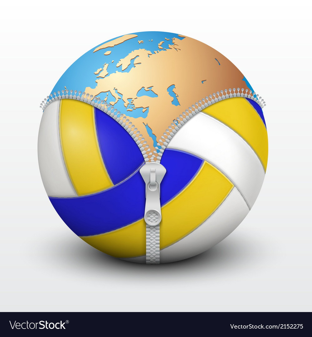 Planet earth inside volleyball ball vector | Price: 1 Credit (USD $1)