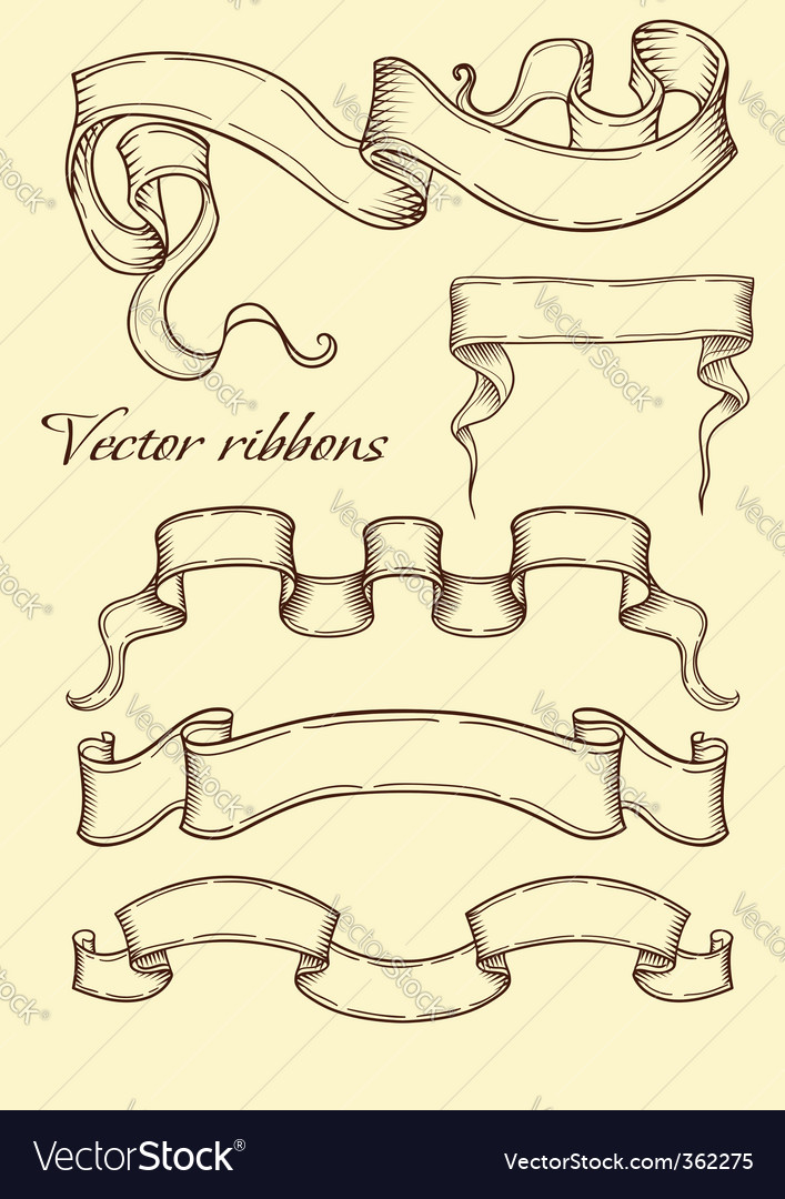 Ribbon in retro style vector | Price: 1 Credit (USD $1)