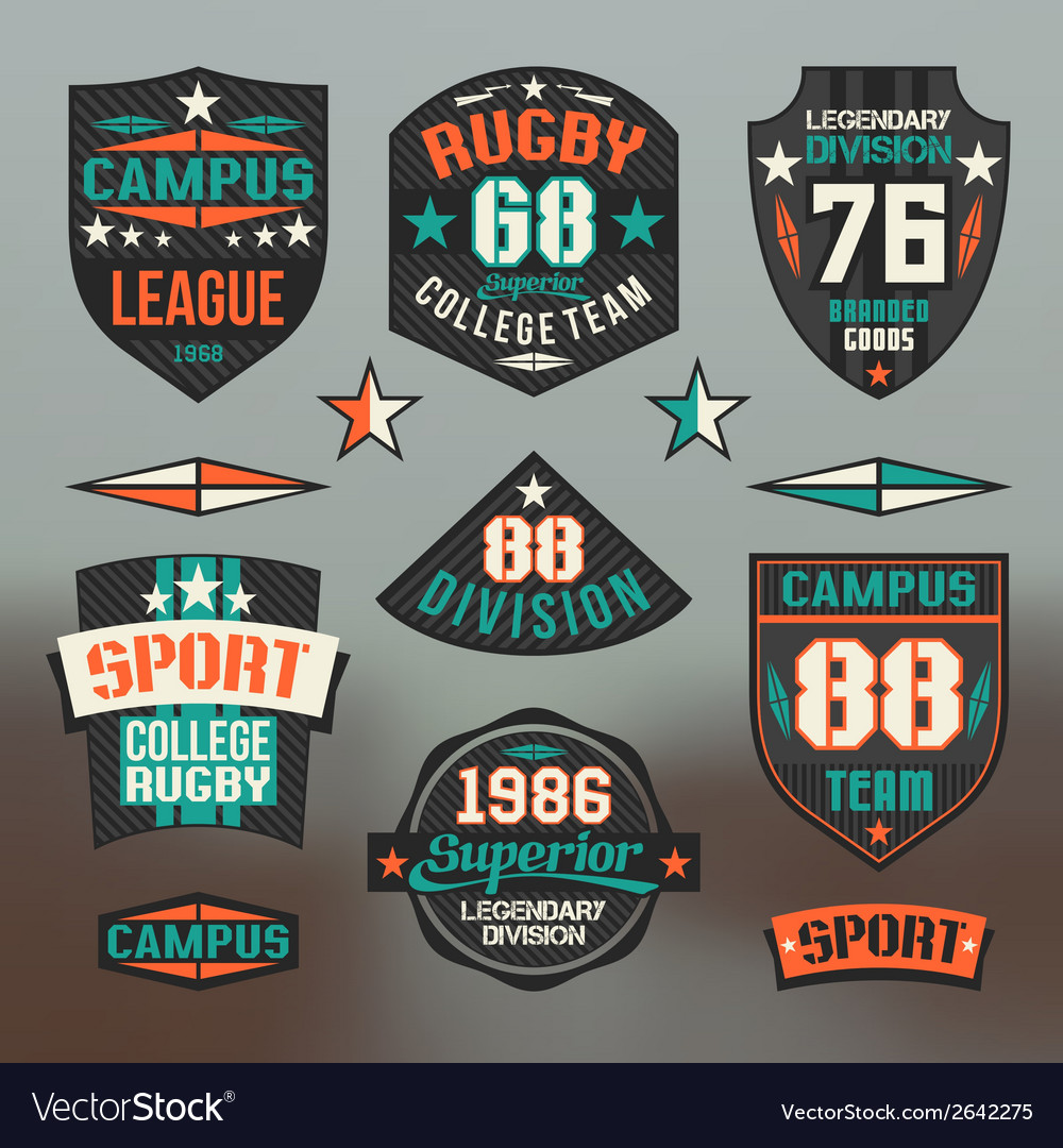 Rugby emblem college team vector | Price: 1 Credit (USD $1)