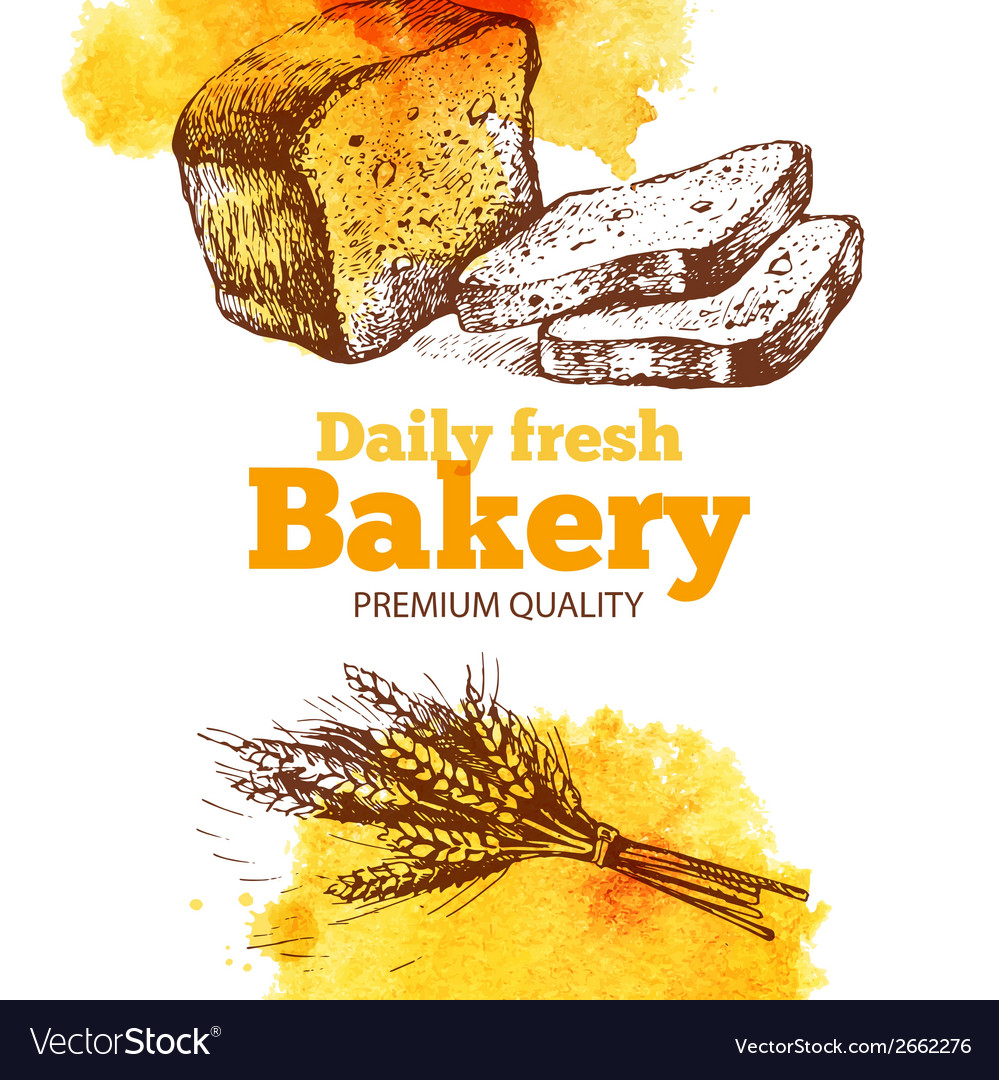 Bakery watercolor and sketch background vintage vector | Price: 1 Credit (USD $1)