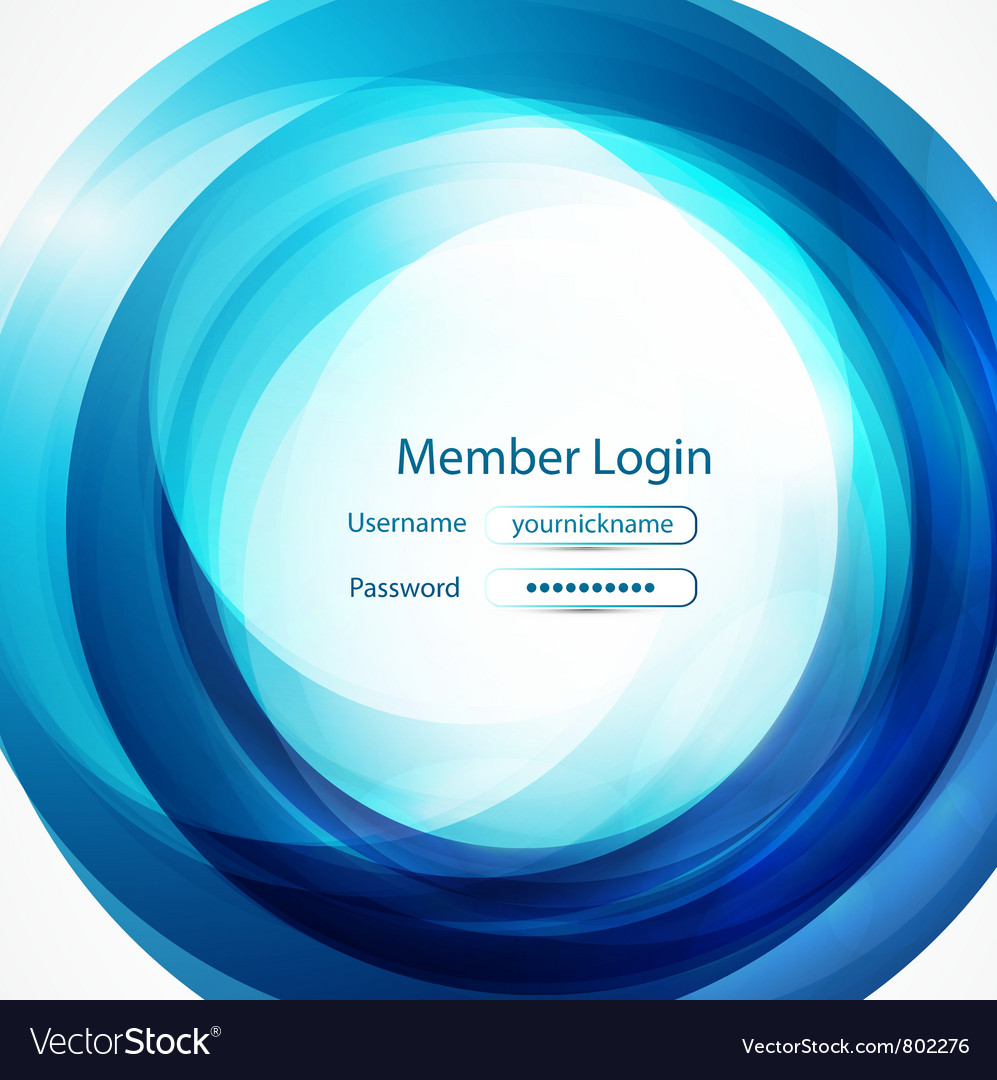 Blue swirl login page vector | Price: 1 Credit (USD $1)