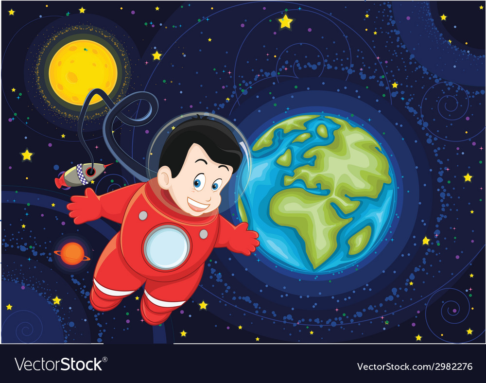 Cute astronaut flying in space vector | Price: 1 Credit (USD $1)