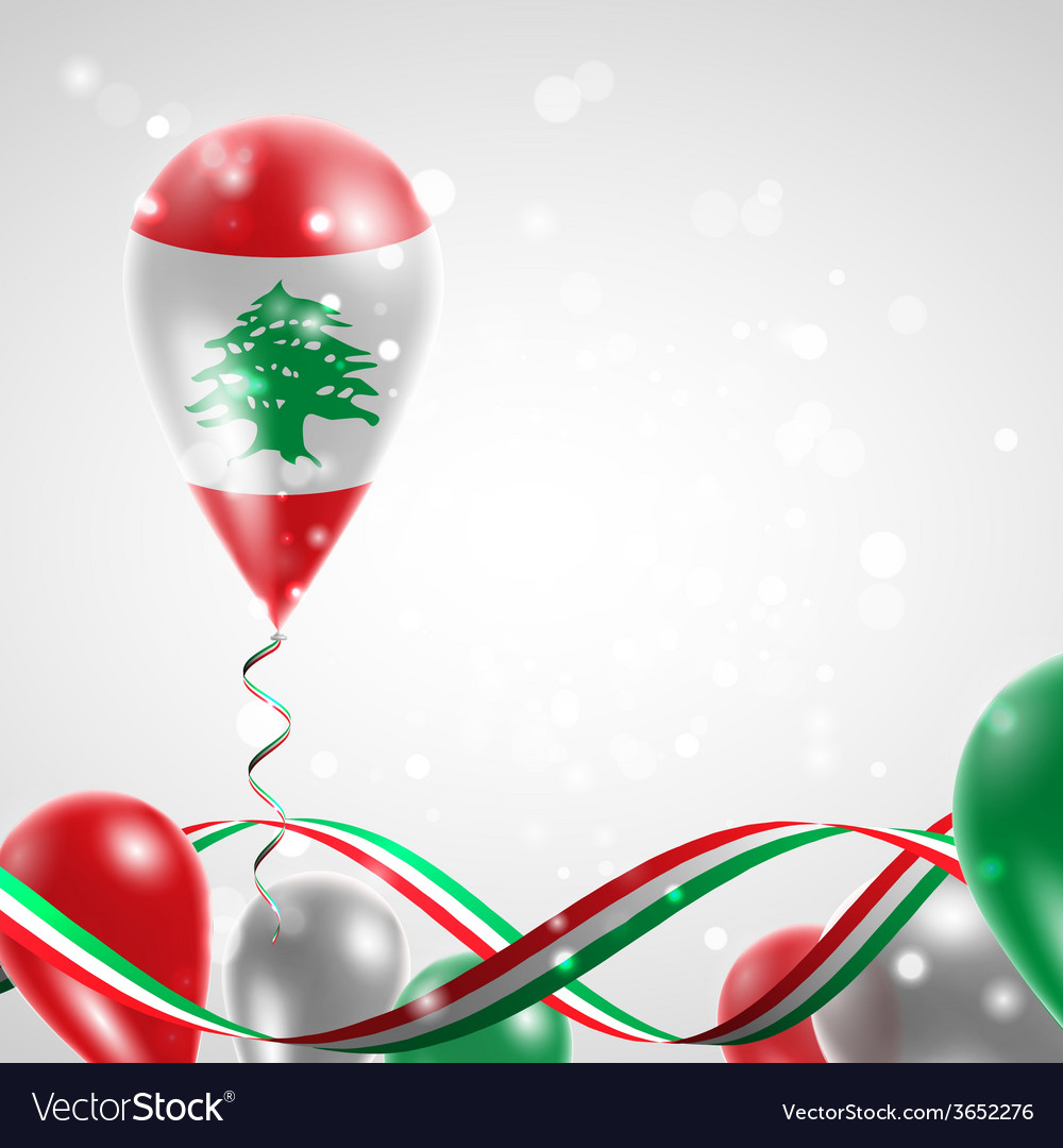 Flag of lebanon on balloon vector   Price: 1 Credit (USD $1)