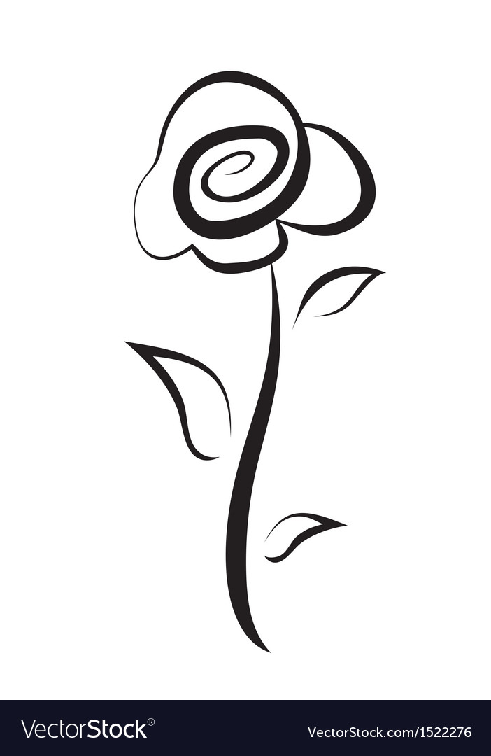 Hand drawn rose flower symbol isolated sketch vector | Price: 1 Credit (USD $1)