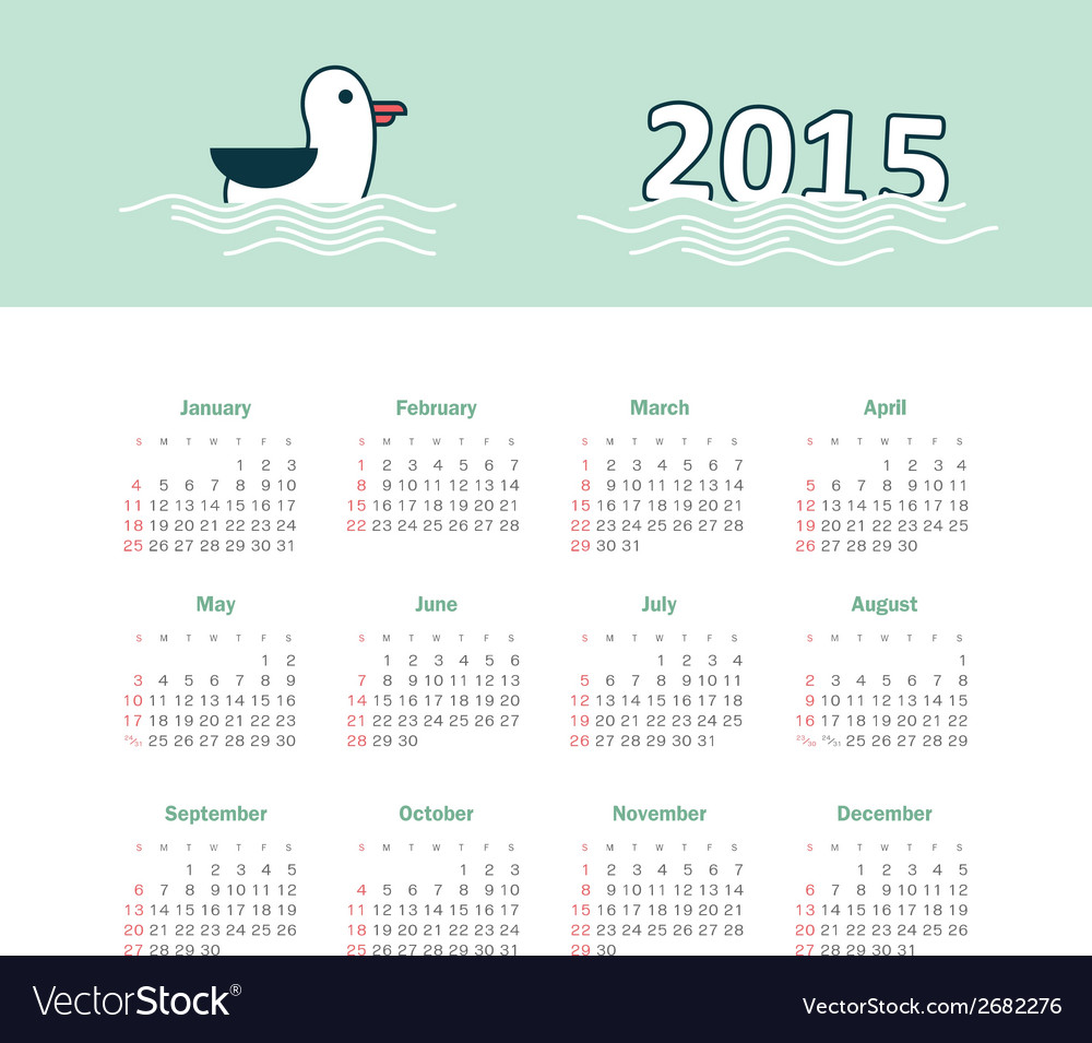 Marine calendar 2015 year with gull vector | Price: 1 Credit (USD $1)