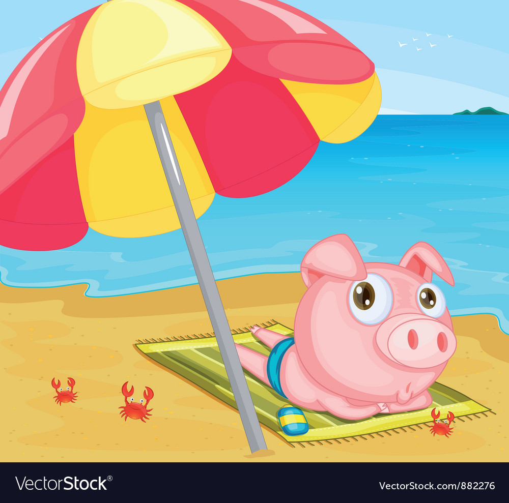 Pig at the beach vector | Price: 5 Credit (USD $5)