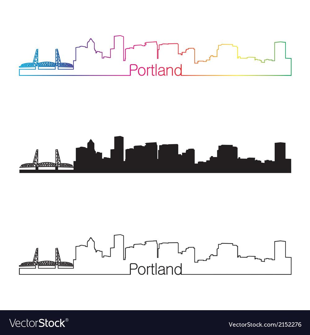 Portland skyline linear style with rainbow skyline vector | Price: 1 Credit (USD $1)