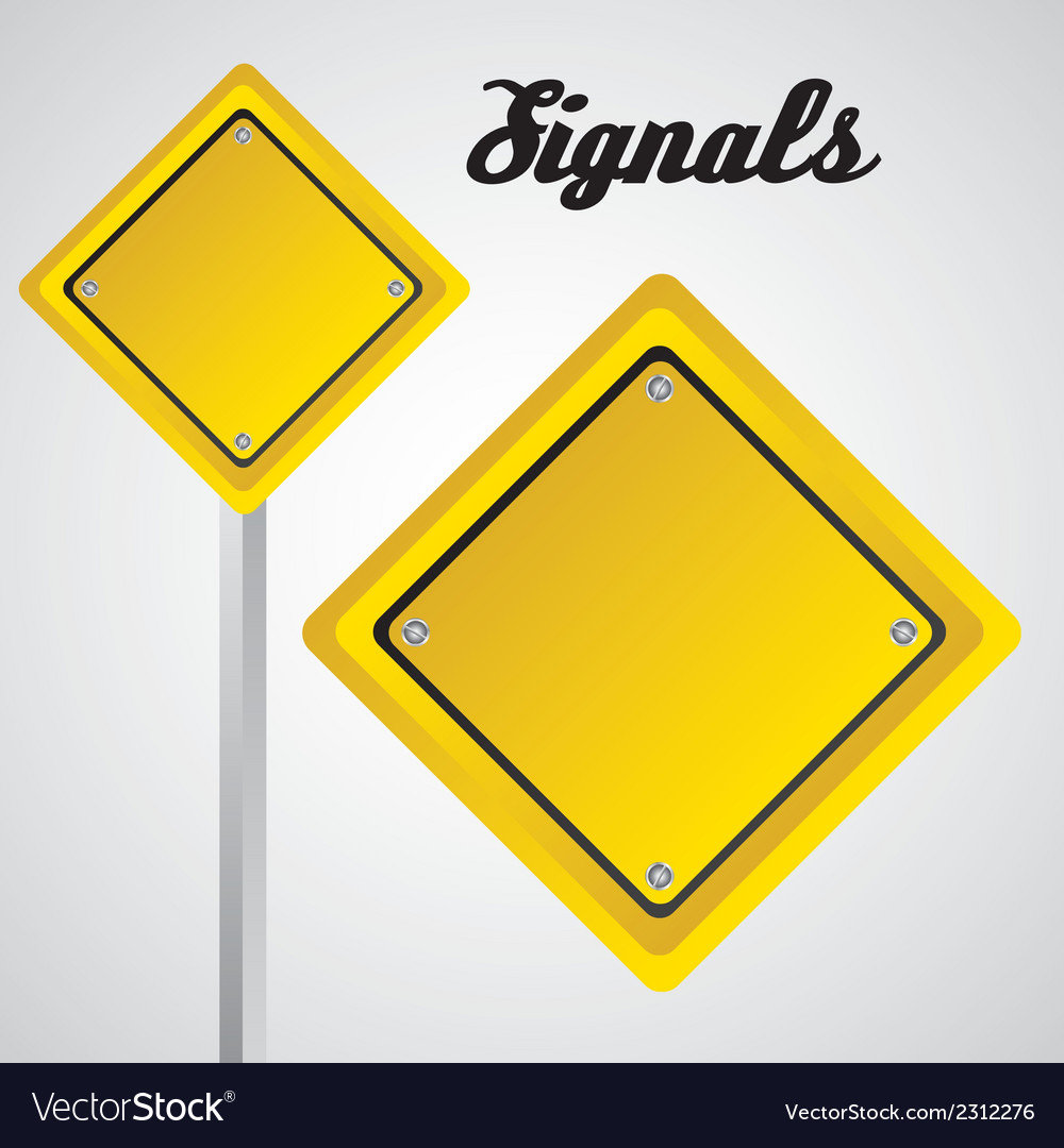 Rhombus yellow sign over gray background vector | Price: 1 Credit (USD $1)
