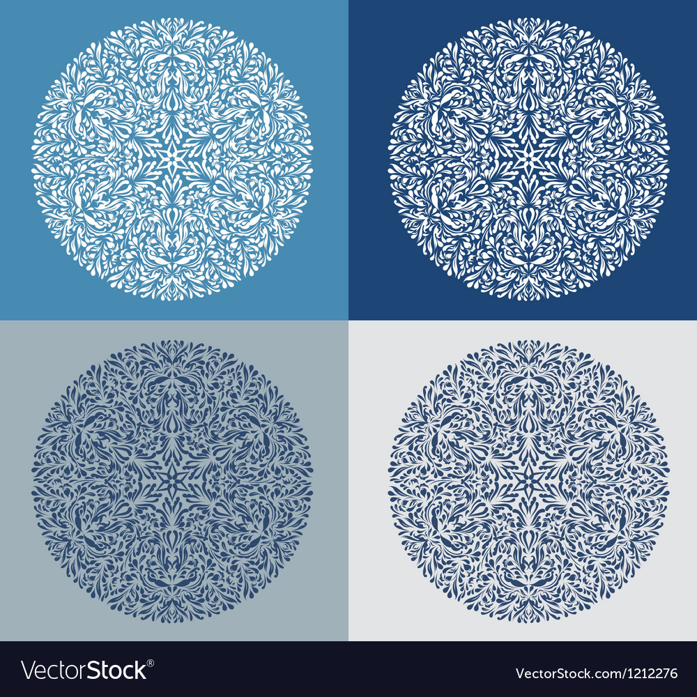 Set of vintage snowflake on blue background vector | Price: 1 Credit (USD $1)