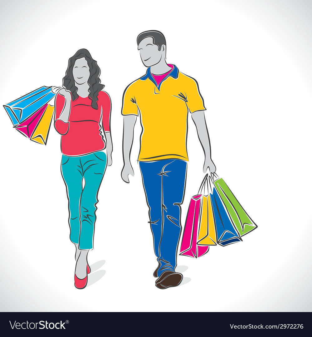 Shopping couple stock vector | Price: 1 Credit (USD $1)