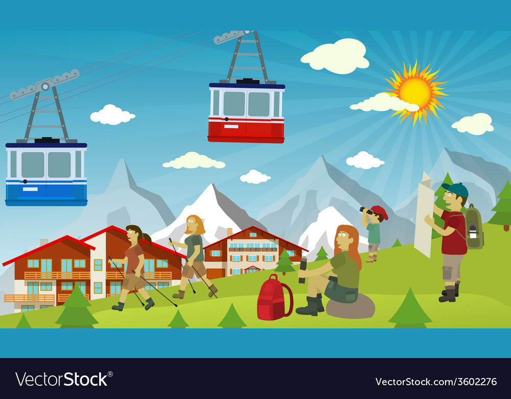 Tourists in the alps vector | Price: 3 Credit (USD $3)