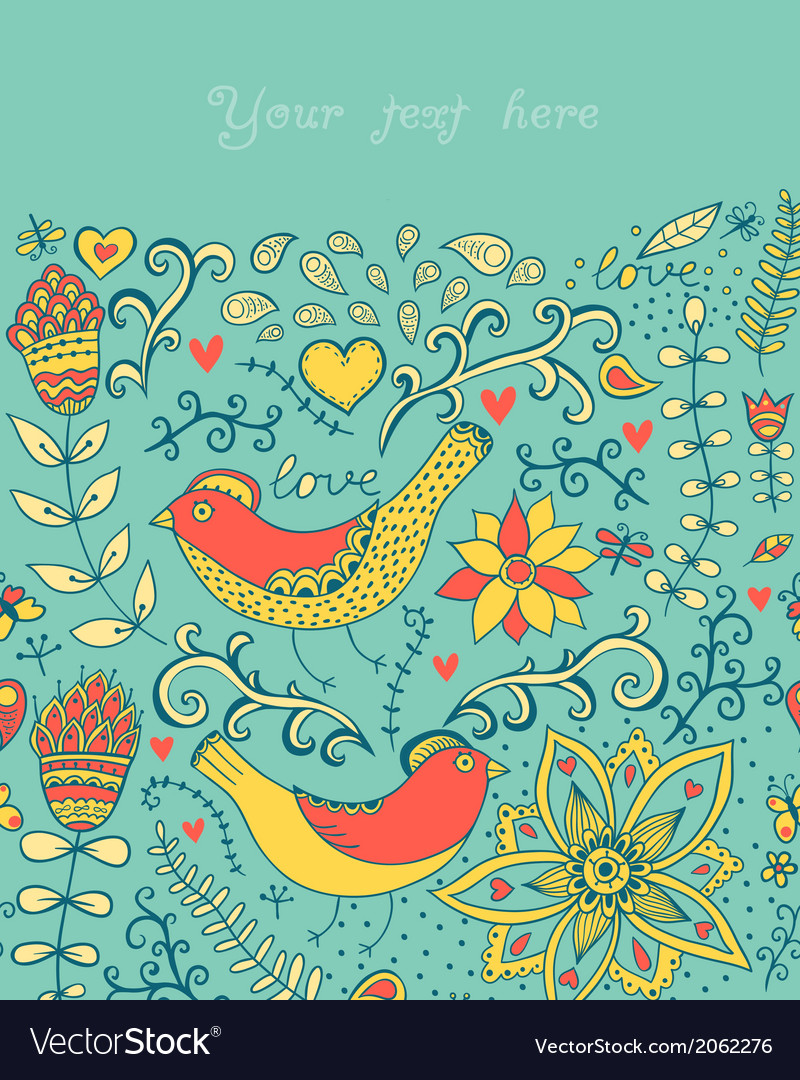 With flowers birds hearts and butterfliesromanti vector   Price: 1 Credit (USD $1)